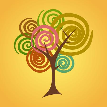 Rotondo astratto albero circolare in illustrazione vettoriale Archivio Fotografico - 45795248