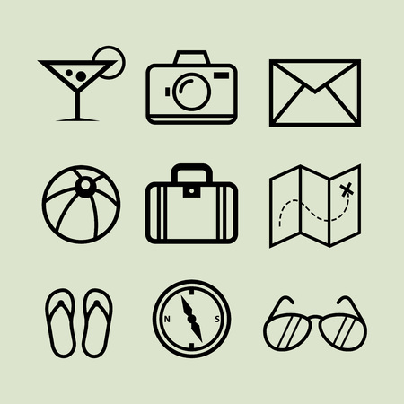 holiday icons: Collection of holiday icons in line art vector illustration
