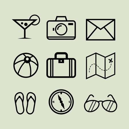 streckbilder: Insamling av semester ikoner i linje art vektor illustration Illustration