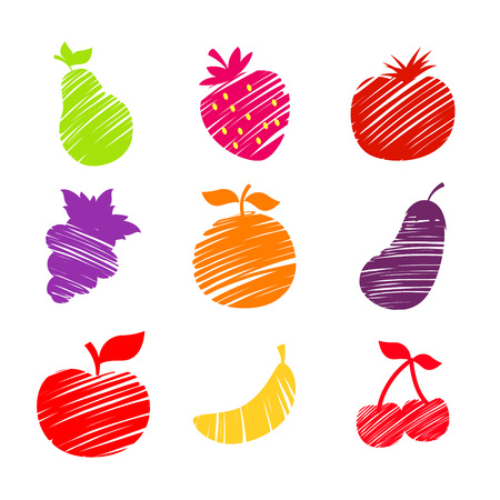 sketched: Various fruits in sketched hand drawing vector illustration