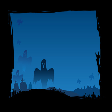 yard: Halloween background of grave yard with ghosts vector illustration Illustration