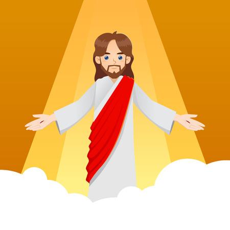 resurrección: Ascensión de Jesucristo con el brazo de par en par, ilustración vectorial