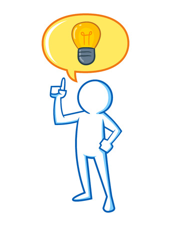light bulb idea: Figure of a man having a big idea, vector illustration