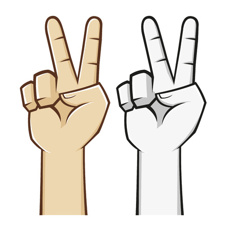 hand sign: Peace hand sign and symbol, vector illustration Illustration