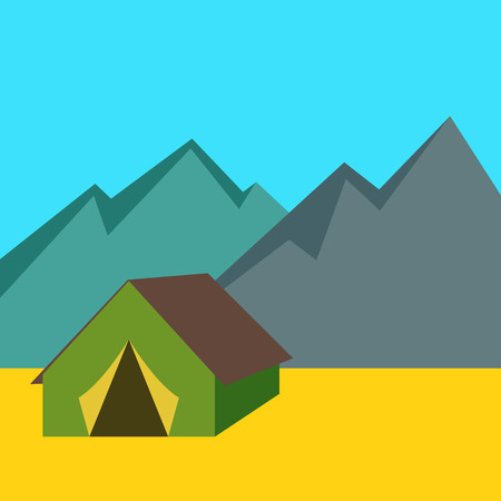 'hide out': Camping tent with mountains background, vector illustration