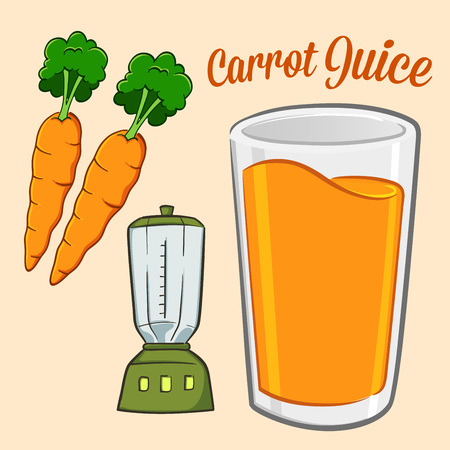 carrot juice: Carrot juice ingredients and equipment vector illustration Illustration