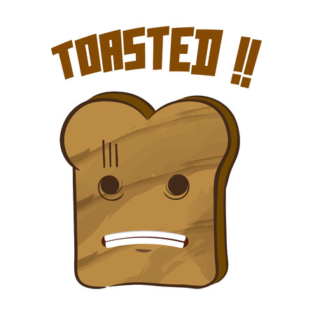 toasted bread: Slice of bread got toasted vector illustration