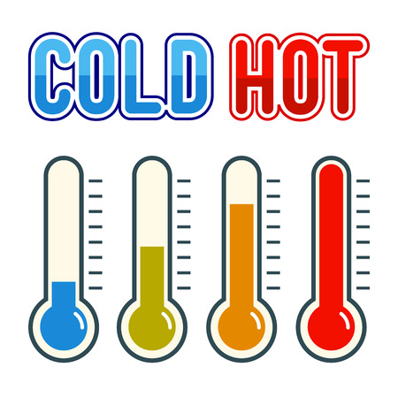 Colorful thermometer symbol with hot and cold sign, vector illustration