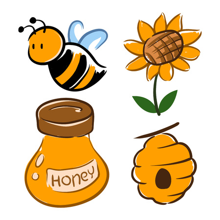 Hand drawing of bumblebee with flower and honey jar, vector illustration