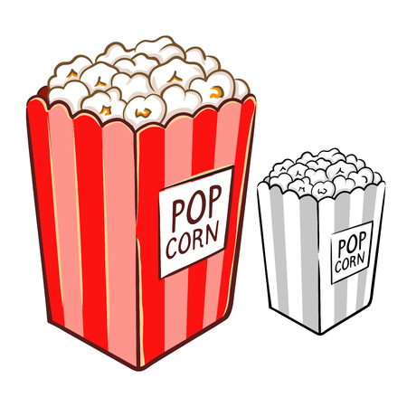 Hand drawing of yummy delicious popcorn in vector illustration