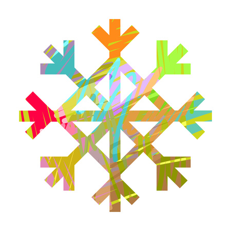 brush stroke: Snow flake with colorful brush stroke texture, vector illustration