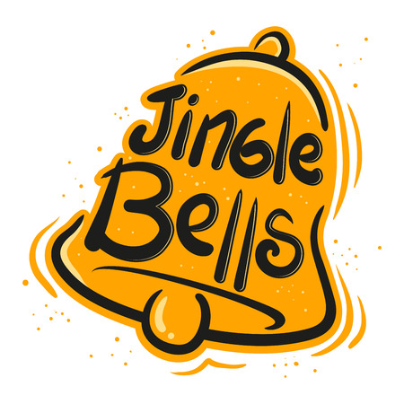 jingle bells: Jingle bells greeting in paint brush vector illustration