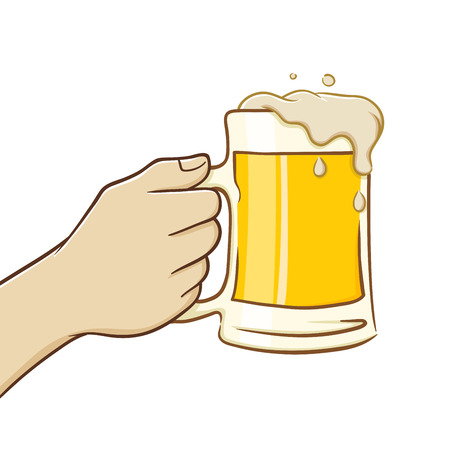 st patric: Hand holding a big glass of beer, in vector illustration Illustration