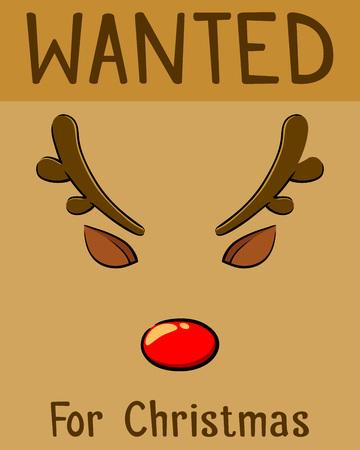 nariz roja: Cartel de navidad Se busca por el reno de la nariz roja, ilustración vectorial