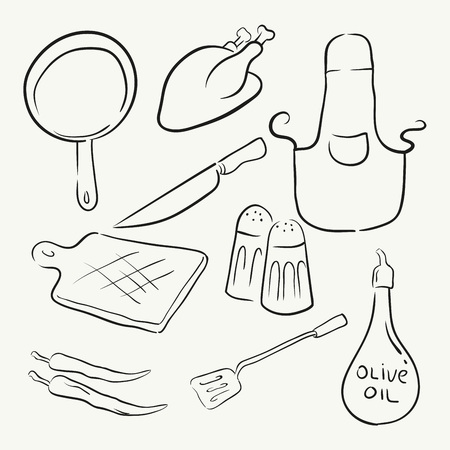compilation: Cooking equipment in doodle hand drawing vector illustration