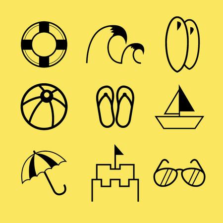 streckbilder: Insamling av strandlinjen art ikon, i vektor illustration