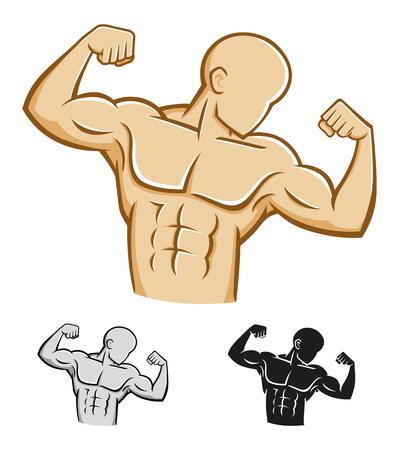 Body builder athlète chiffre illustration vectorielle