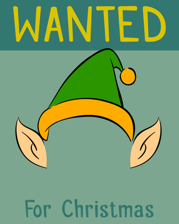 Wanted Christmas poster for the elf, vector illustration