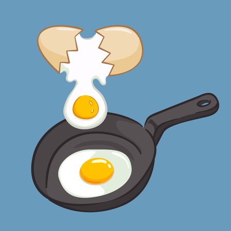 sunny side up eggs: Frying eggs using frying pan, vector illustration