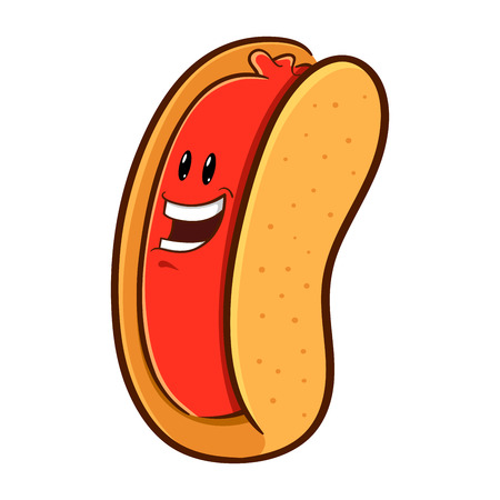 hot dog: Smiling happy hotdog character in vector illustration Illustration