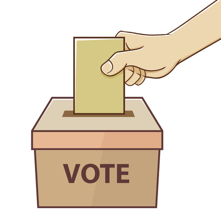 participate: Hand holding card for voting and election in vector illustration