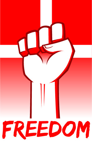 denmark flag: Hand clenched for freedom in front of Denmark Flag, vector illustration