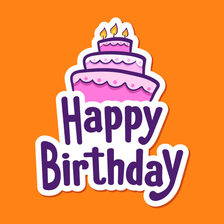 orange cake: Happy Birthday greetings sticker with cake on top Illustration