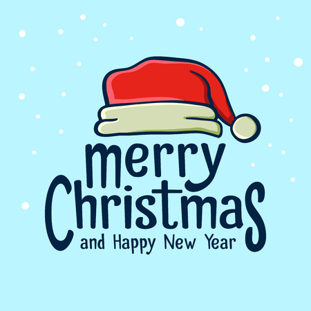 poster art: Merry Christmas and Happy New Year greetings with Santa Claus hat Illustration
