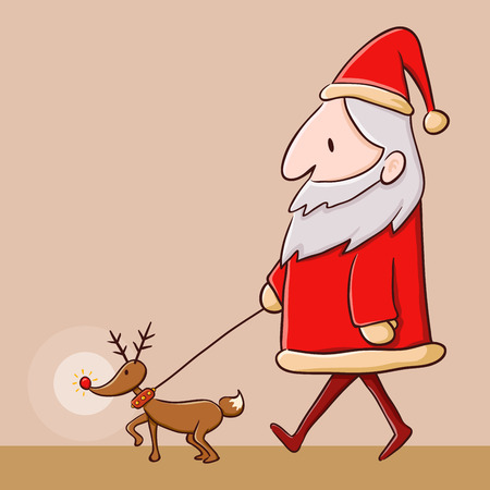 red nose: Santa Claus walking with red nose reindeer, vector illustration
