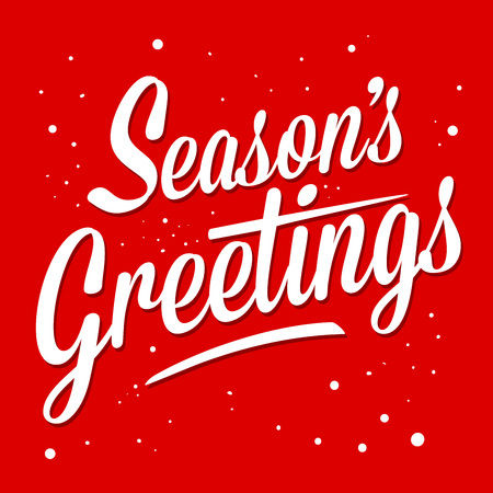 seasons greeting card: Season greetings typography art vector illustration