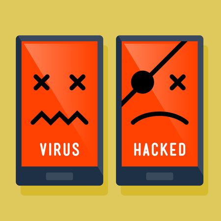 hacked: Hacker and virus attack on smart phone, vector illustration icon