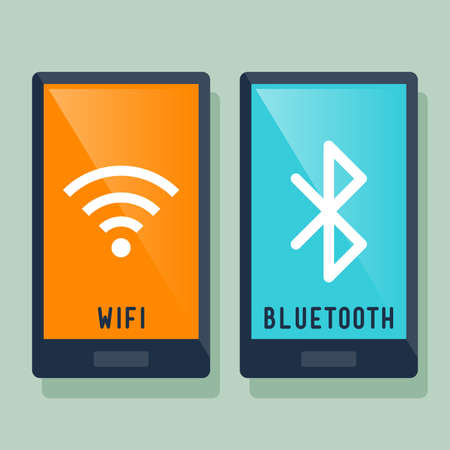 Smart phone wifi and bluetooth connection icon, vector illustration Illustration