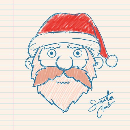 paper note: Hand drawing of Santa Claus on a paper note