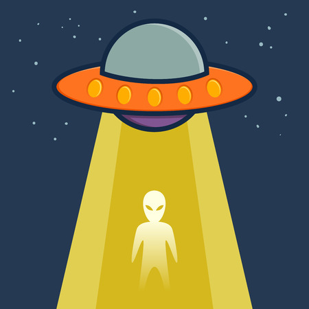 extra terrestrial: Space ship teleporting an alien, vector illustration Illustration