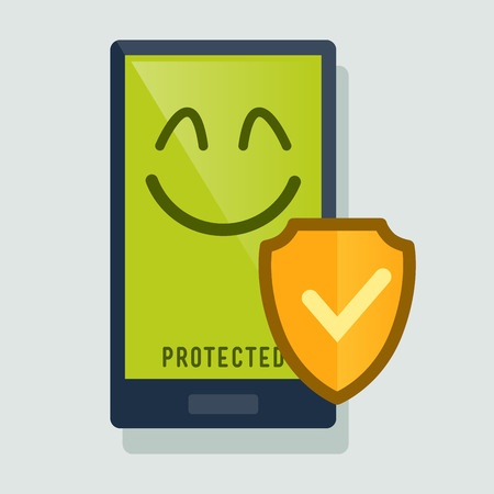anti: Smart phone happy protected with anti virus shield, vector illustration