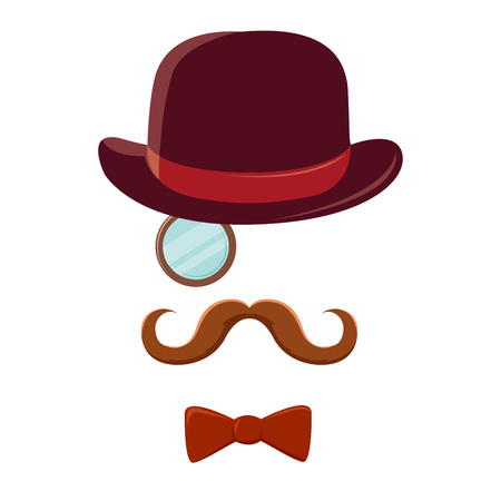 Gentlemen With Mustache Top Hat And Bow Tie Symbol Royalty Free