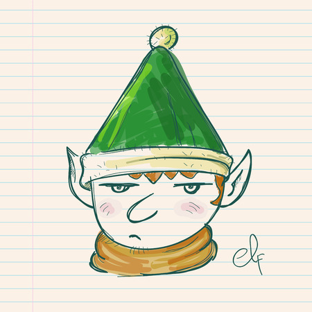 paper note: Hand drawing of a christmas elf on a paper note