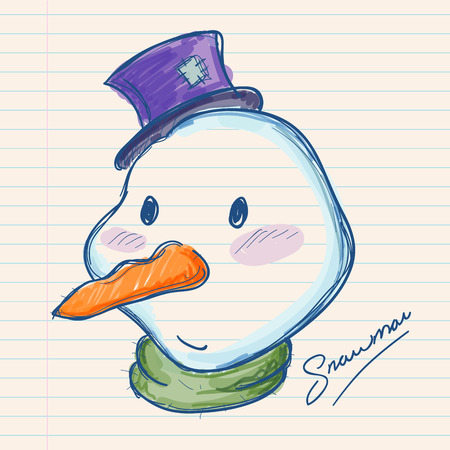 Hand drawing of a snowman on a paper note Illustration