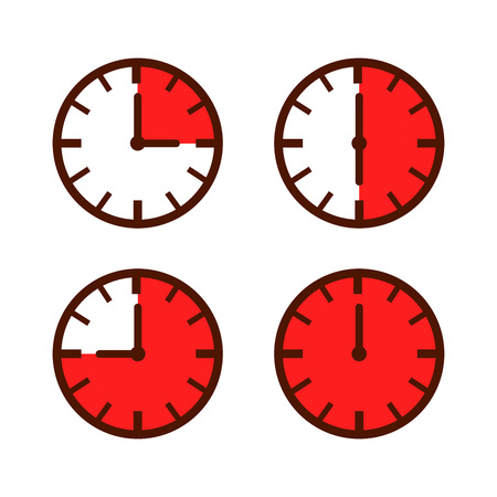 elapsed: Set of simple watch icon in different time laps