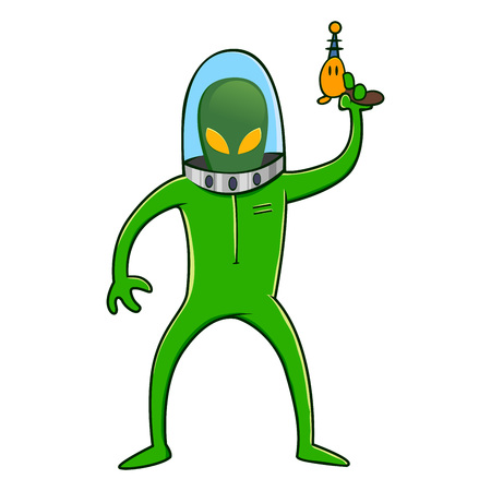 space suit: Alien in green space suit while holding a laser gun