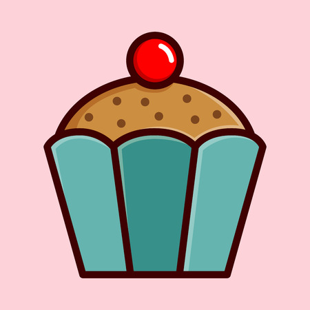 cupcake illustration: Chocolate chip cupcake with cherry on top, vector illustration Illustration