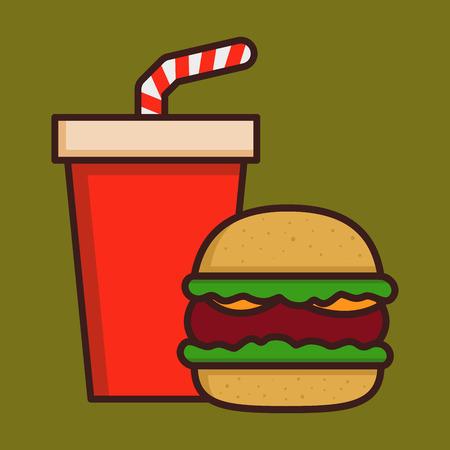 Fast food hamburger and soda drink vector illustration Illustration