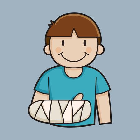 Little boy with a broken arm vector illustration Illustration
