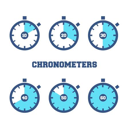 異なる時間周のスポーツ クロノメーター アイコンのセット  イラスト・ベクター素材