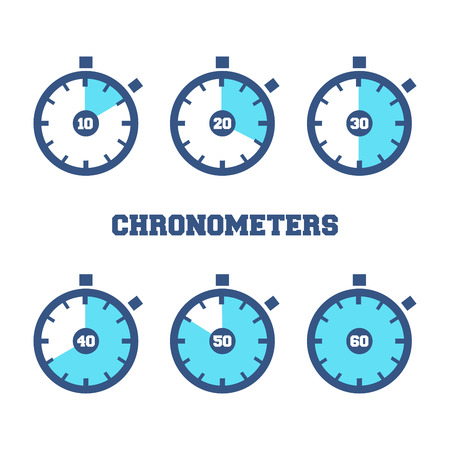 cartoon clock: Set of sport chronometers icon in different time laps