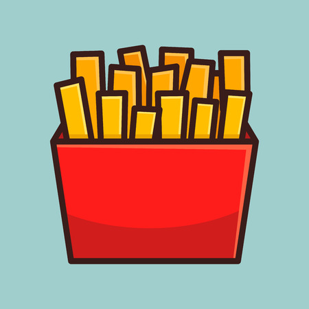side dish: French fries in simple flat color vector illustration