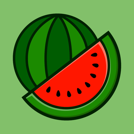 Delicious sweet sliced watermelon in vector illustration