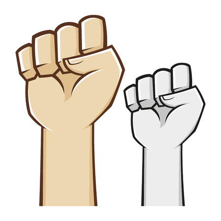 fist clenched: Hand clenched fist symbol in vector illustration