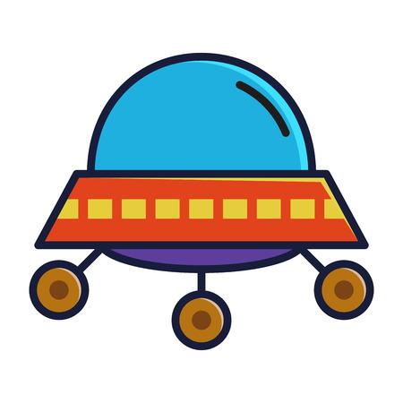 extra terrestrial: Alien space ship icon in flat color vector illustration Illustration