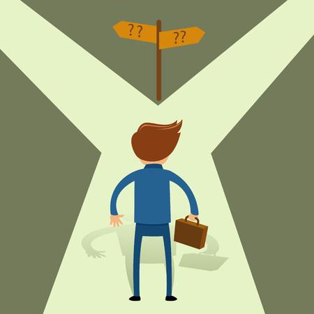 between: Businessman choosing unknown path, vector illustration Illustration